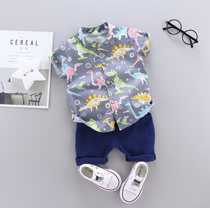 Summer new baby Cartoon Multi Dinosaur printed casual two Pieces set (gray)