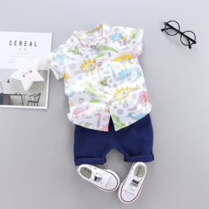 Summer new baby Cartoon Multi Dinosaur printed casual two Pieces set (white)