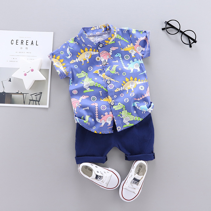 Summer new baby Cartoon Multi Dinosaur printed casual two Pieces set (blue)