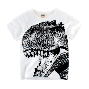 The new summer dinosaur head print boys short-sleeved t-shirt (white)