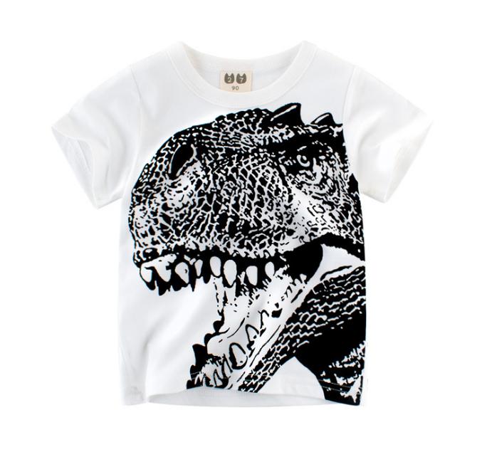 The new summer dinosaur head print boys short-sleeved t-shirt (white)