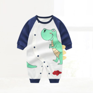 Newborn Baby Boy Girl Jumpsuit Cotton One-Piece Bodysuit Clothes Outfits cartoon dinosaur pattern design element