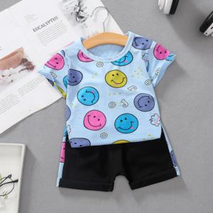 Summer Children Set Round neck Cotton short-sleeved T-shirt + shorts set cartoon smiley pattern (blue)