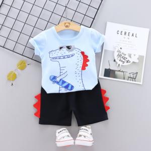 Summer Children round neck Cotton short-sleeved T-shirt shorts set Cartoon crocodile pattern (blue)