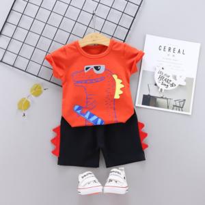 Summer Children round neck Cotton short-sleeved T-shirt shorts set Cartoon crocodile pattern (red)