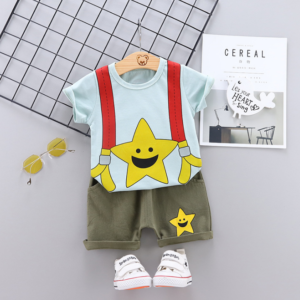 Summer new baby cartoon stars smiling face printed casual two Pieces set (blue)