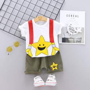 Summer new baby cartoon stars smiling face printed casual two Pieces set (white)