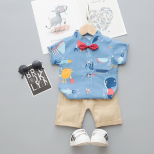 Baby casual two Pieces set Cartoon cute animal print stand shirt (blue)