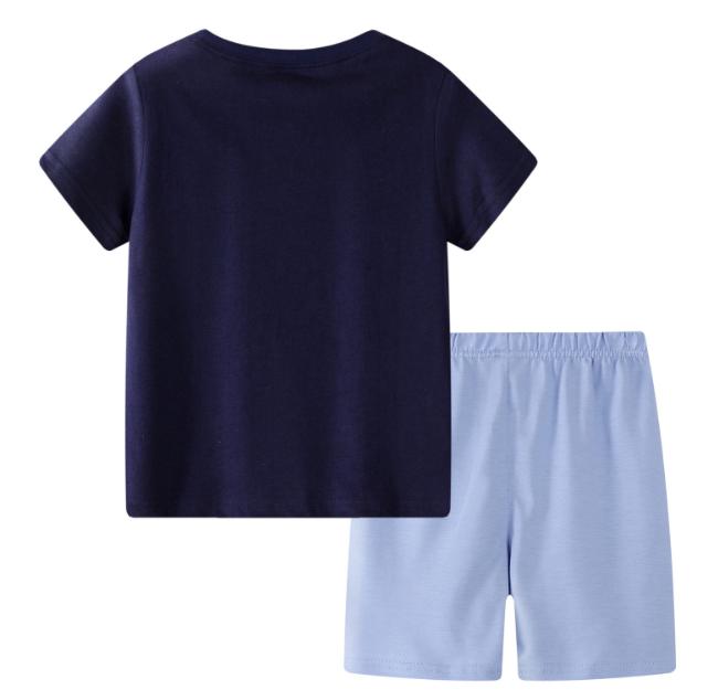Elephant pattern print Cotton T-shirt shorts two-Pieces suit