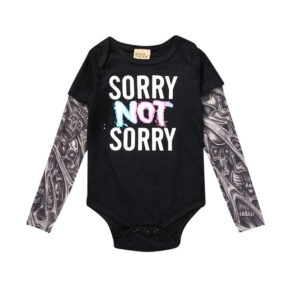 Toddler Tattoo Sleeve T-Shirt Cotton Tees Top (sorry Print)