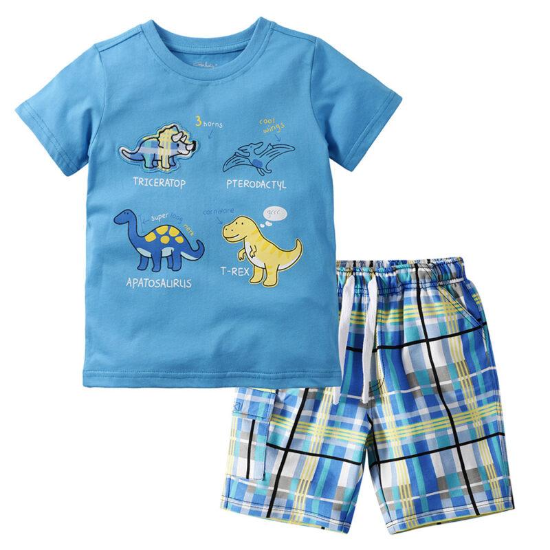 Summer Boy Clothes T-Shirt And Shorts (cartoon dinosaur)