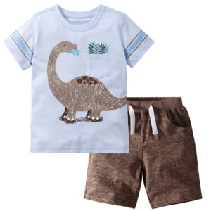 Summer Boy Clothes T-Shirt And Shorts (dinosaur)