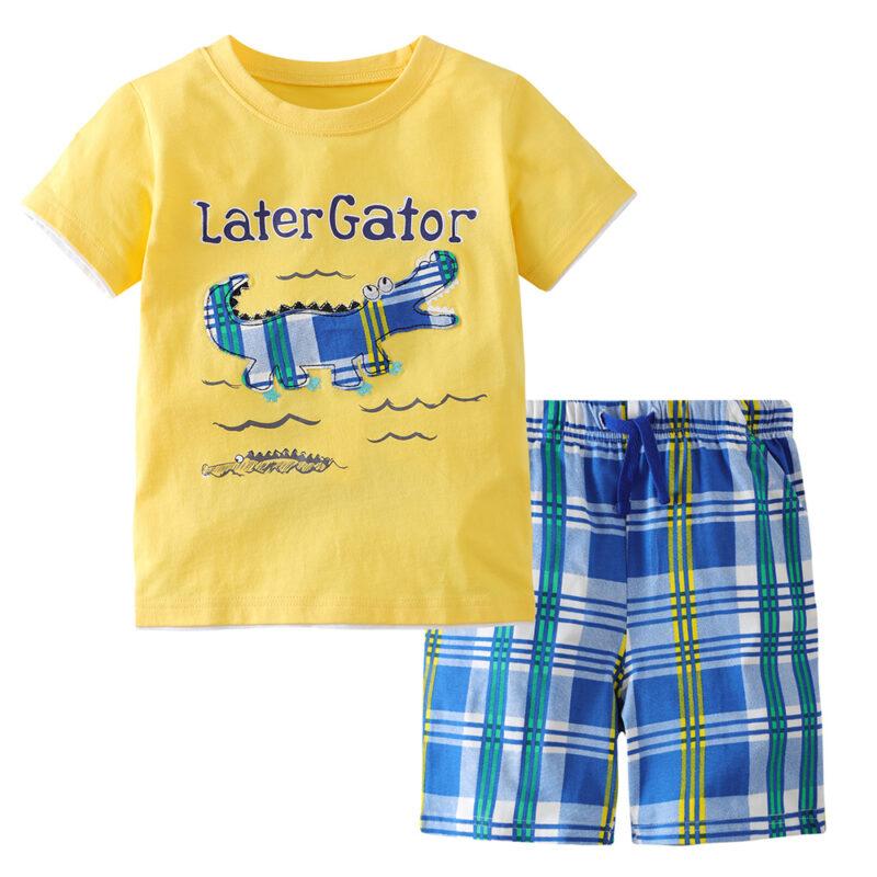 Summer Toddler Boy Clothes T-Shirt And Shorts (crocodile)