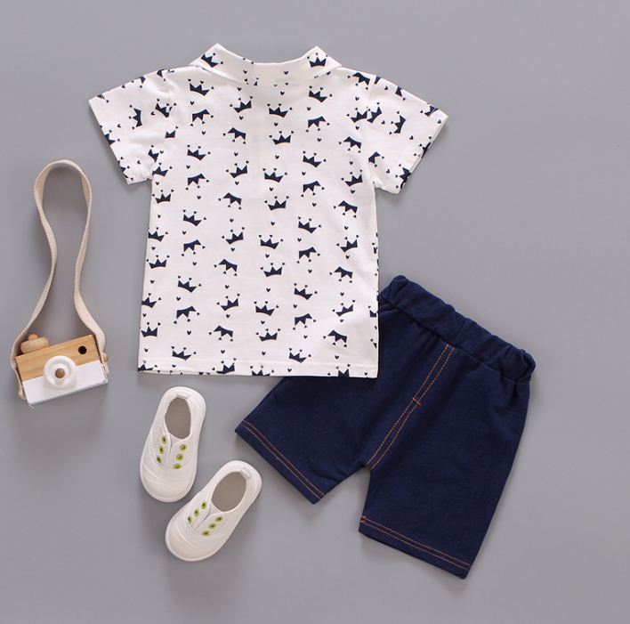 Children's summer Multi crown pattern Polo short sleeve tshirt and shorts two piece set (white)