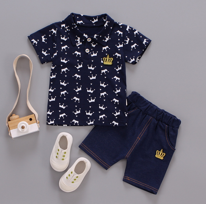 Children's summer Multi crown pattern Polo short sleeve tshirt and shorts two piece set (black)
