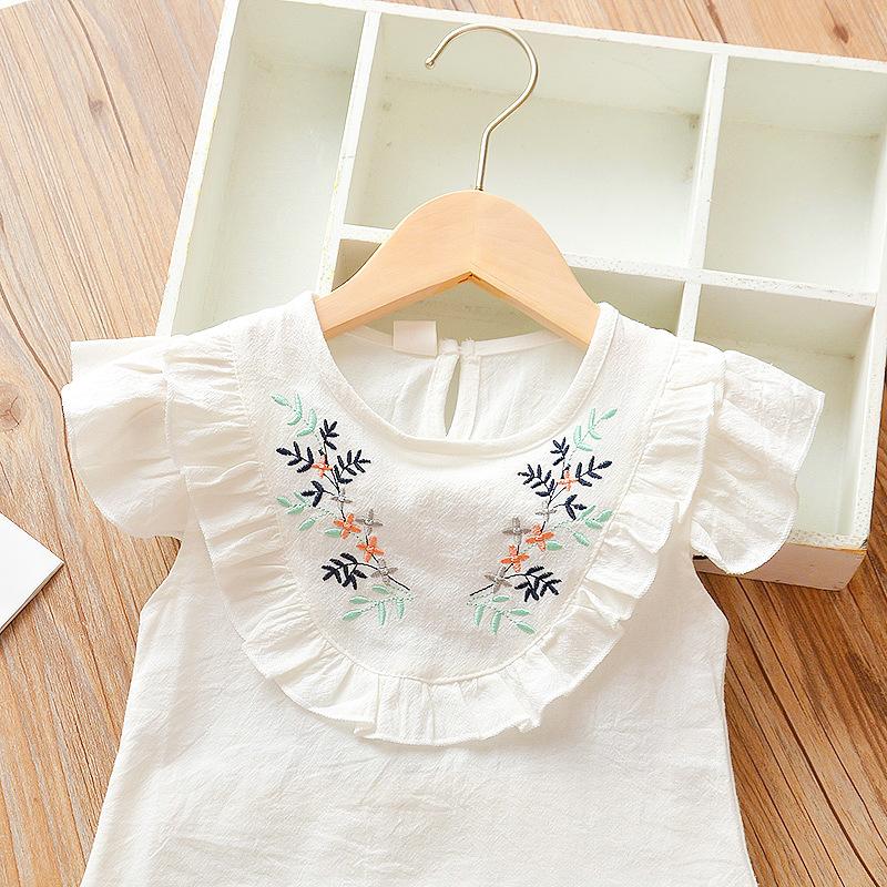 Summer girls' flying sleeve Flower pattern short sleeve shirt and shorts two piece set (green)