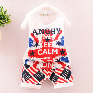 British style star pattern boy vest shorts two-piece set