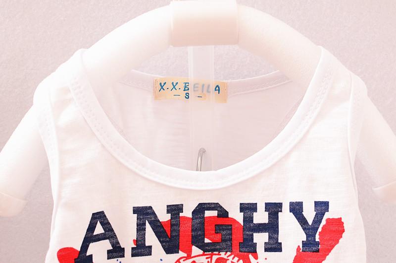 British style star pattern boy vest shorts two-piece set