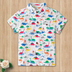 Dinosaur Shirt Toddler Kids Summer Button-Down T-Shirt