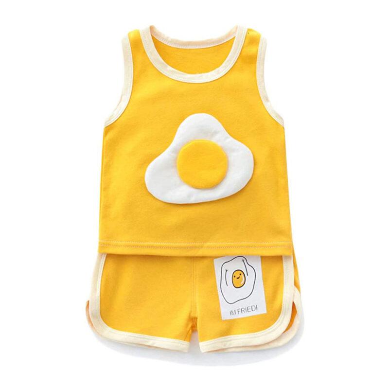 Baby Summer Outfits Toddler Kids Shorts Sets Egg Print