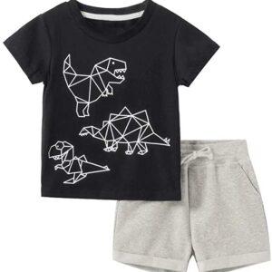 T-shirts and shorts suits (Geometric element dinosaur)