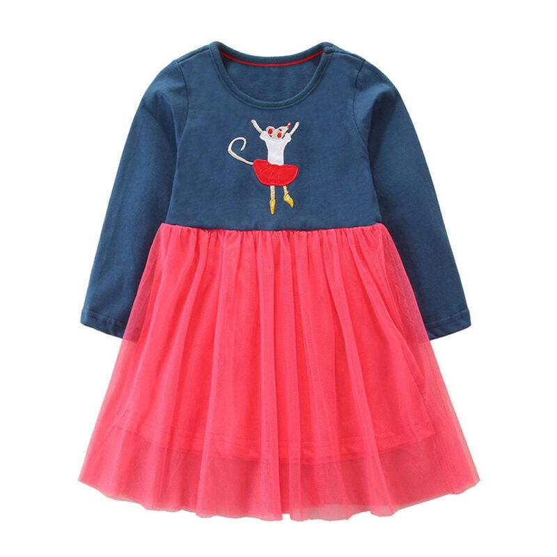 Toddler Girls Dresses Short Sleeve (Dancing Mouse,1179)