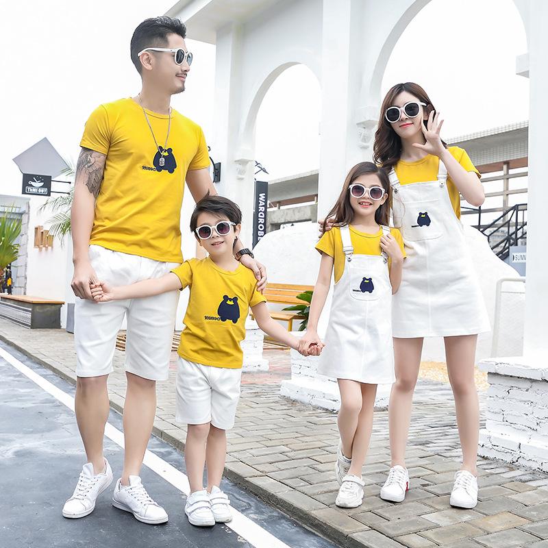 Summer 2020 Family Outfit T-shirt Shorts Sling Skirt Set