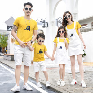 Summer 2020 Family Outfit T-shirt Shorts Sling Skirt Set