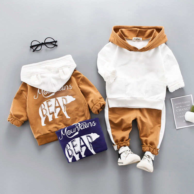 Toddler Boys Clothes Autumn Winter Hooded+Pant 2pcs Outfit Suit