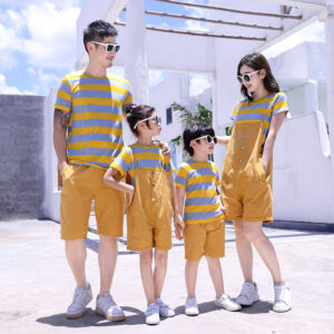 Summer 2020 Family Outfit T-shirt Shorts Sling Skirt Set (Stripe)