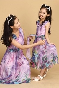Floral Printed Layered Dress for Girl