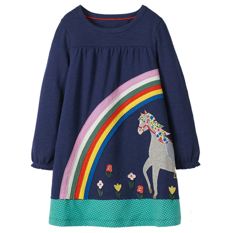 Toddler Girls Dresses Short Sleeve (rainbow,horse,1166)