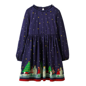 Toddler Girls Dresses Short Sleeve (Christmas tree,star,1169)