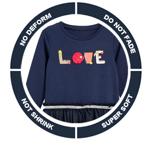 Toddler Girls Dresses Short Sleeve (LOVE,1189)