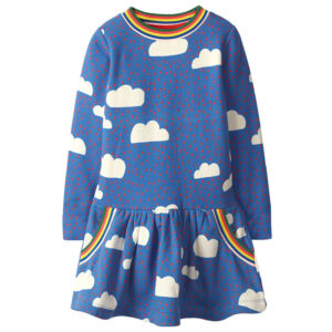 Toddler Girls Dresses Short Sleeve (Cloud,Rainbow,1157)