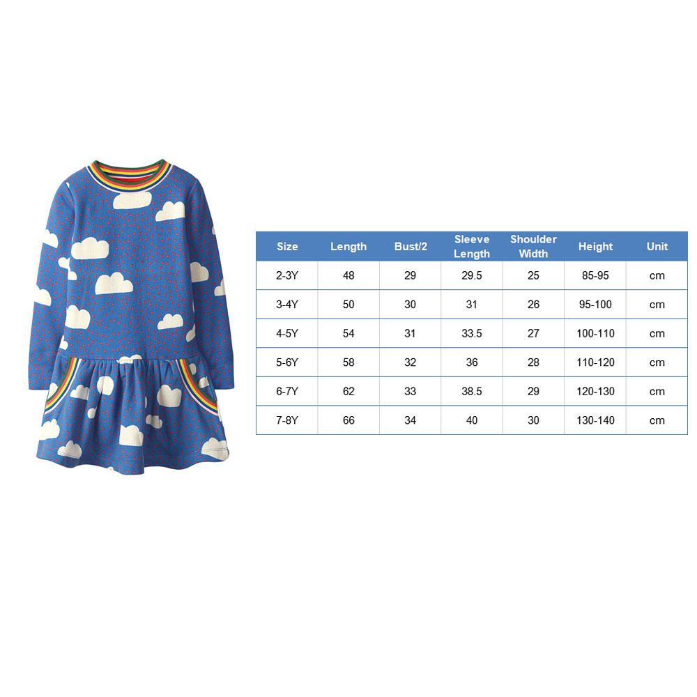 Toddler Girls Dresses Short Sleeve (Cloud,Rainbow,1157)