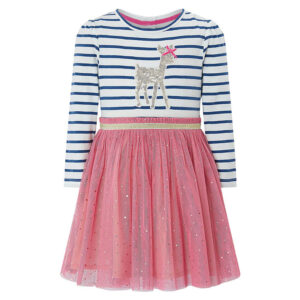 Toddler Girls Dresses Short Sleeve (Deer,1167)
