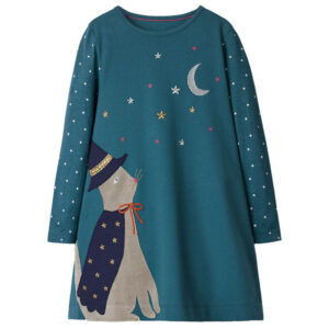 Toddler Girls Dresses Short Sleeve (Moon,Cat,1186)