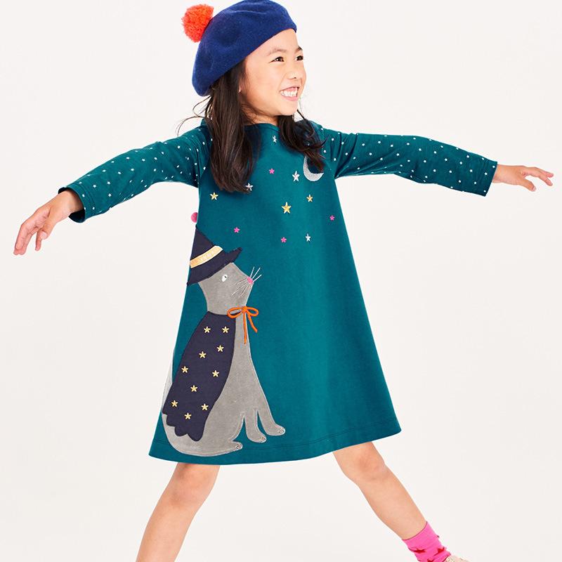 Toddler Girls Dresses Short Sleeve (Moon,Cat,1186)