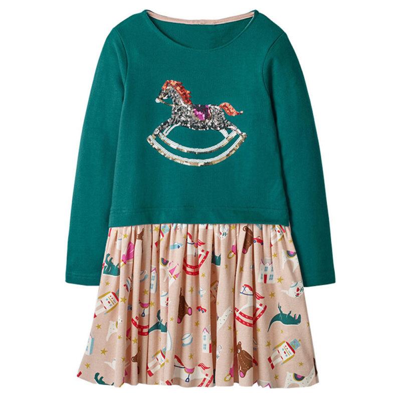 Toddler Girls Dresses Short Sleeve (Trojan,1159)