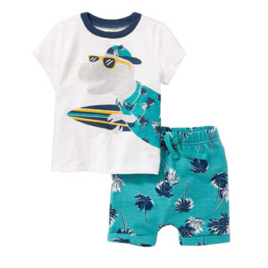 Little Boy Short Sleeve Suits (Dinosaur wearing sunglasses)