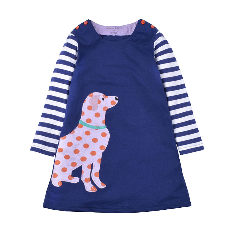 Toddler Girls Dresses Striped Short Sleeve (spotty dog,1005)