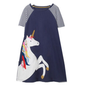 Toddler Girls Dresses Striped Short Sleeve (unicorn,7656)