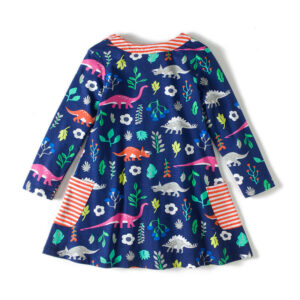 Toddler Girls Dresses Short Sleeve (dinosaur,1738)