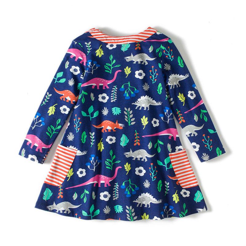 Toddler Girls Dresses Short Sleeve (dinosaur,1738)