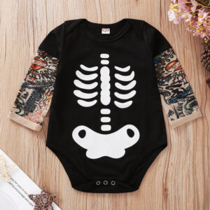 Baby Tattoo Sleeve Shirt Bodysuit (Halloween, skull)