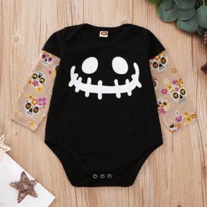 Baby Tattoo Sleeve Shirt Bodysuit (Halloween, Skull smiley)