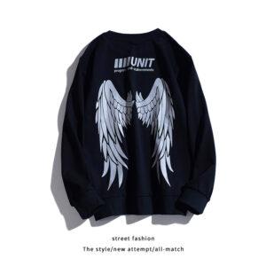 Young Boys hip hop reflective wing printed long sleeve T-shirt