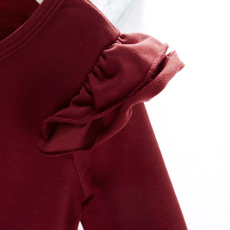Baby / Toddler Girl Solid Ruffled Long-sleeve Dress