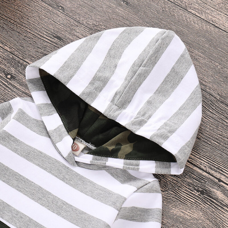 Baby Boy's Striped Camouflage Hooded Bodysuit and Drawstring Pants